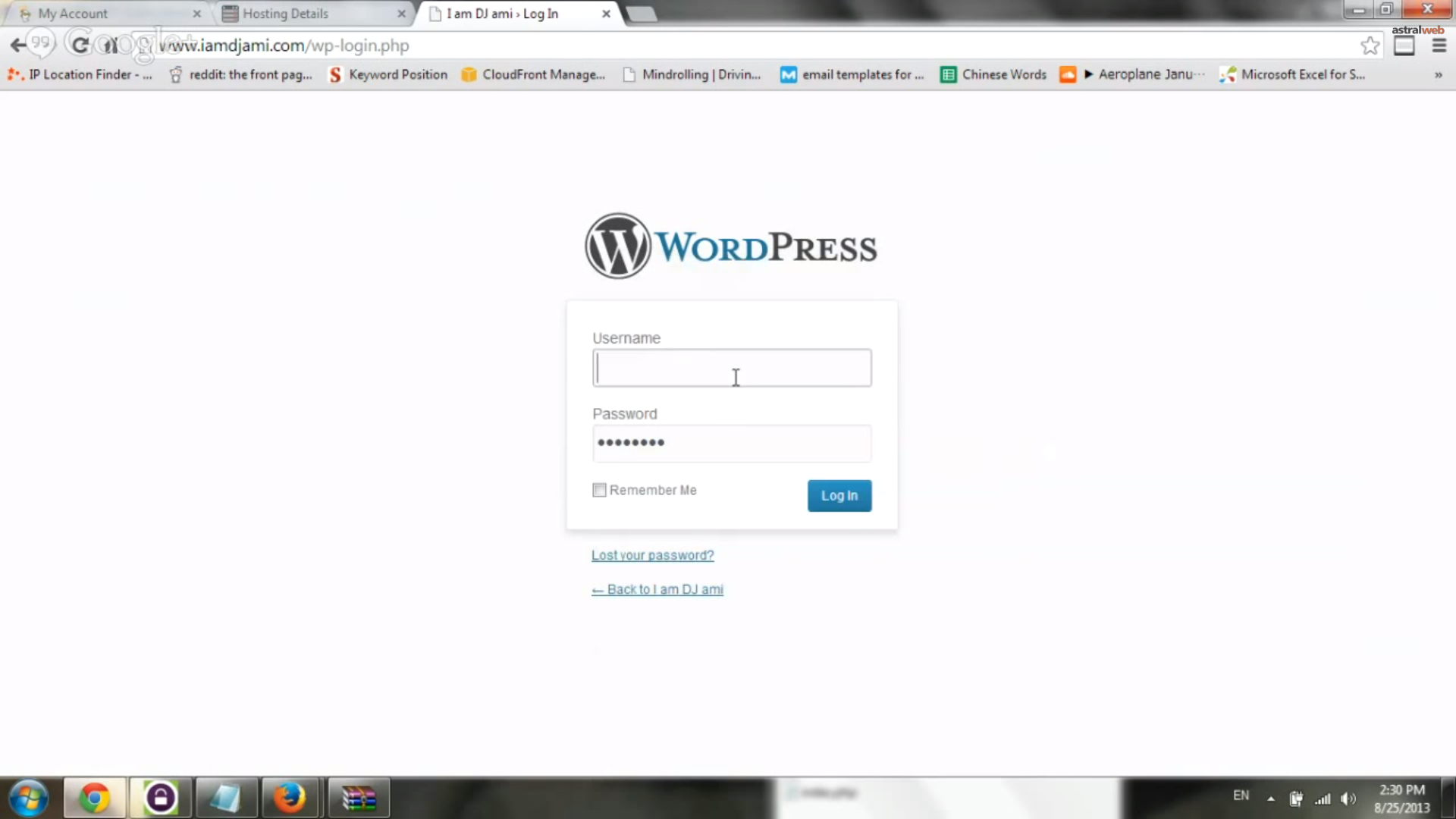 Login to WordPress Admin Area