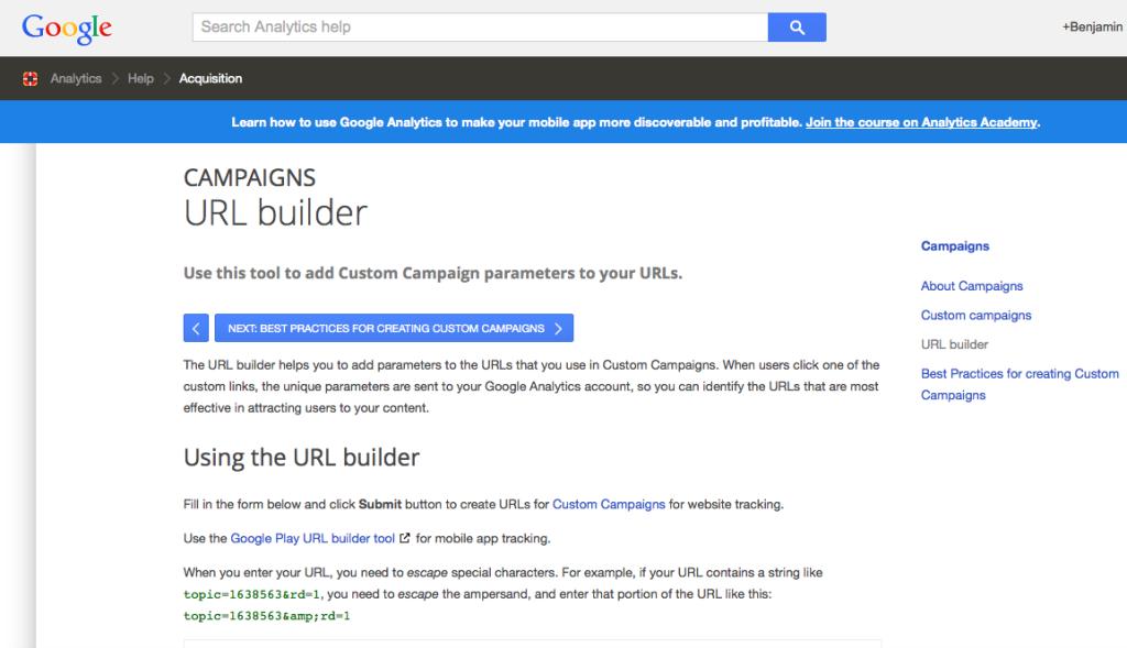 URL builder homepage