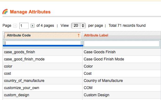 magento attribute codes screenshot