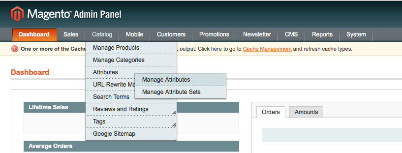manage attributes magento screenshot