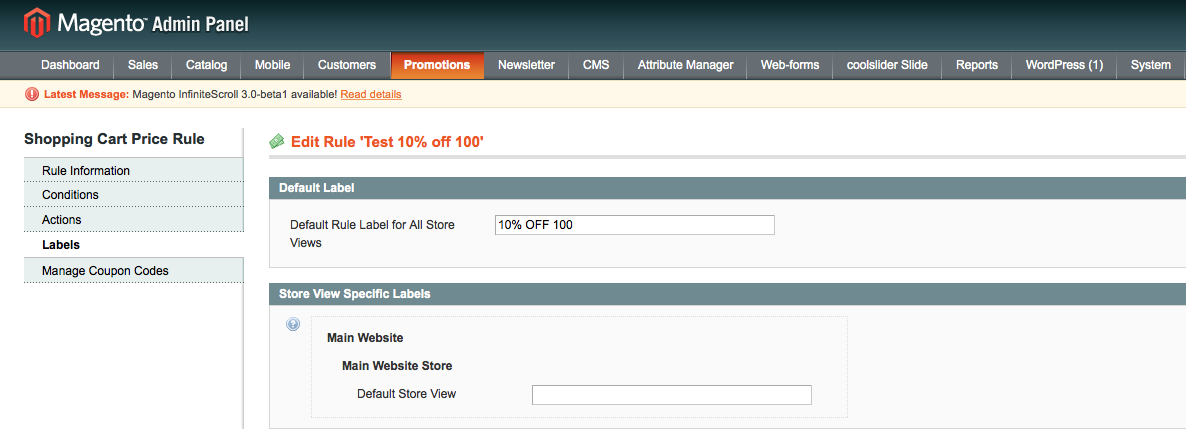 Magento Promotions Demostration - Labels Tab