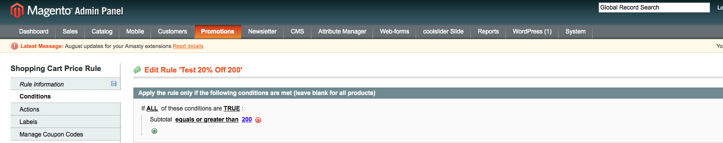 magento manage promotions conditions tab