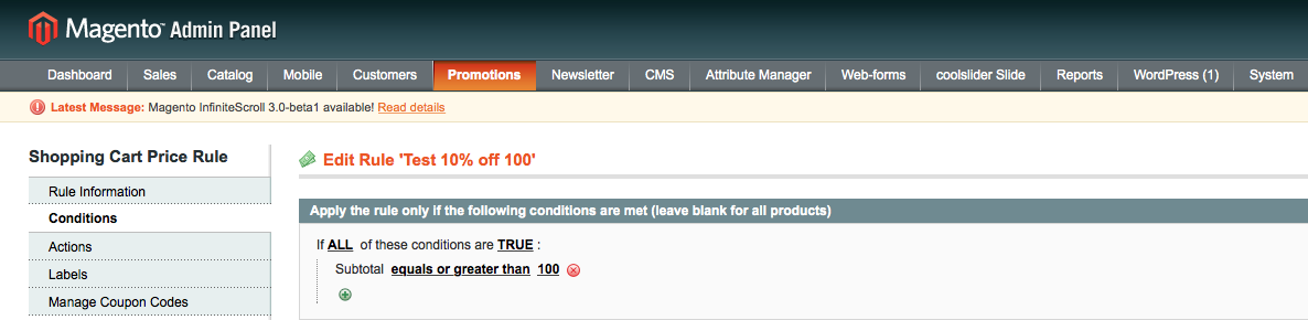 Magento Promotions Rule - Conditions tab
