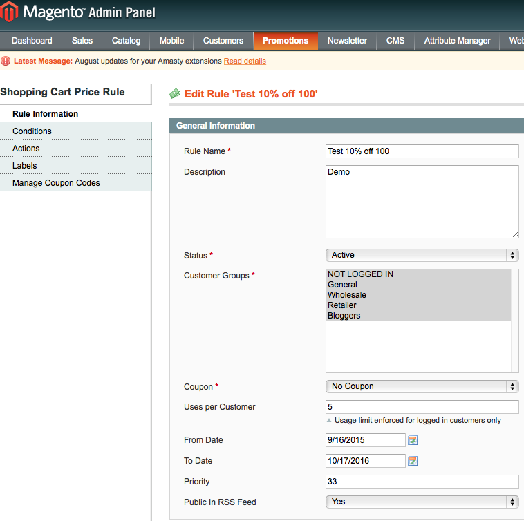 magento promotions rule information tab 10% off