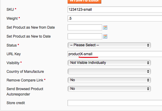Magento Simple Product URL Key field
