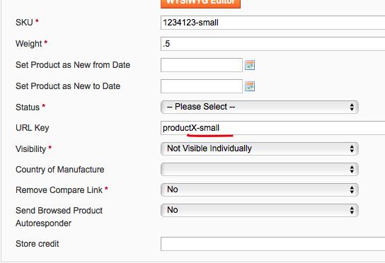 Magento Simple Product URL Key field
