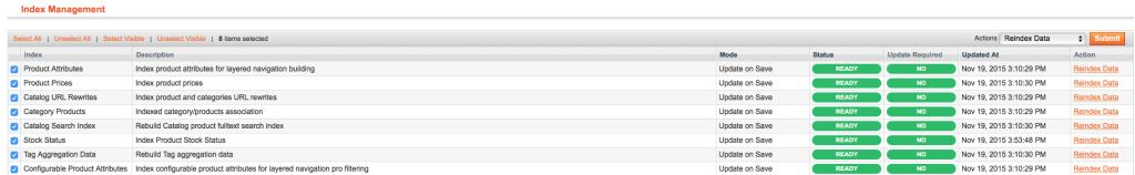 reindex data action in magento admin panel