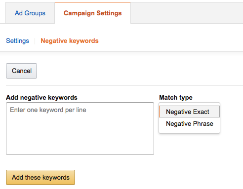 amazon negative keywords auto campaign