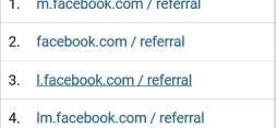 google analytics Facebook referral types