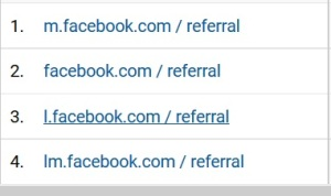 google analytics Facebook referral types