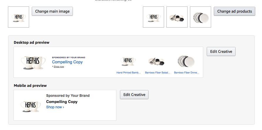Product image selection Amazon Headline Search Ads