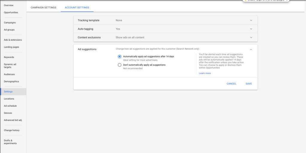 Opt out of auto accept adwords suggestions