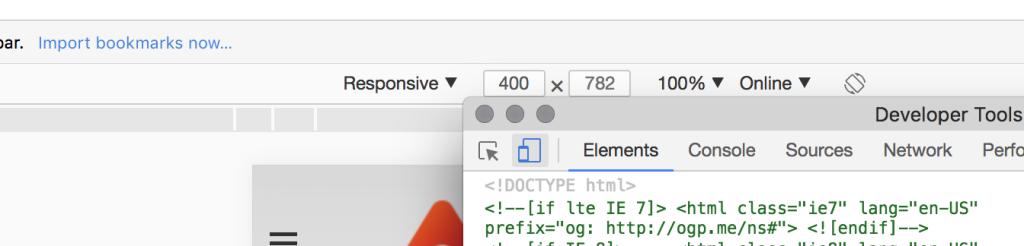 Developer Tools selection for responsive screenshot